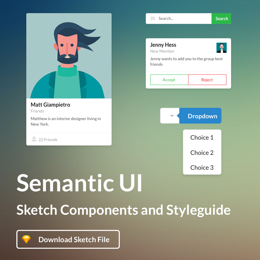 Semantic UI Sketch Styleguide