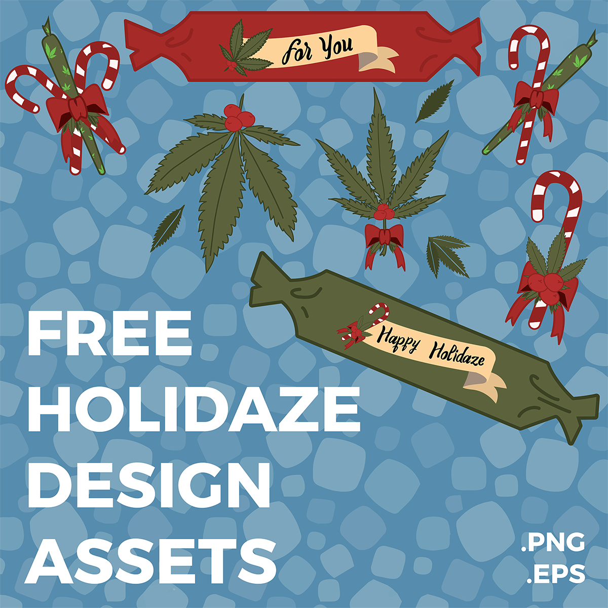 Cannabis Mistletoe, Candy Canes & Poppers - Holidaze Assets